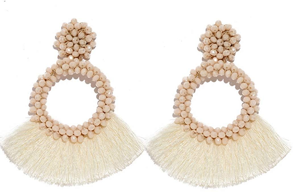 Statement Drop Earrings for Women Handmade Bohemian Beaded Fringe Dangle Earrings Hoop Tassel Earrings Whimsical Fashion Vintage Beach Vacation Club Party Daily Ear Jewelry Accessory for Women Girls