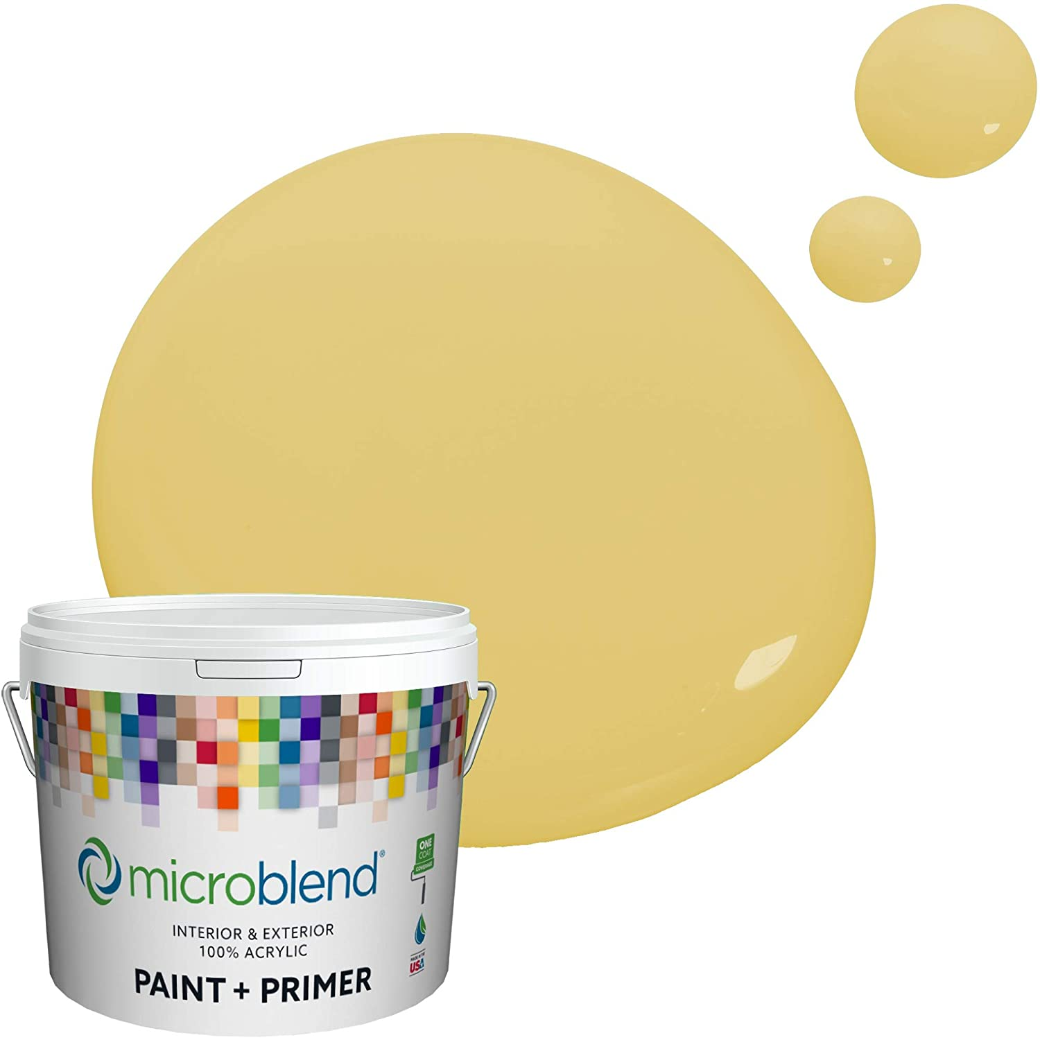 Microblend Interior Paint and Primer - Yellow/Gold Beach, Flat Sheen, 2-Gallon, Premium Quality, One Coat Hide, Low VOC, Washable, Microblend Yellows Family
