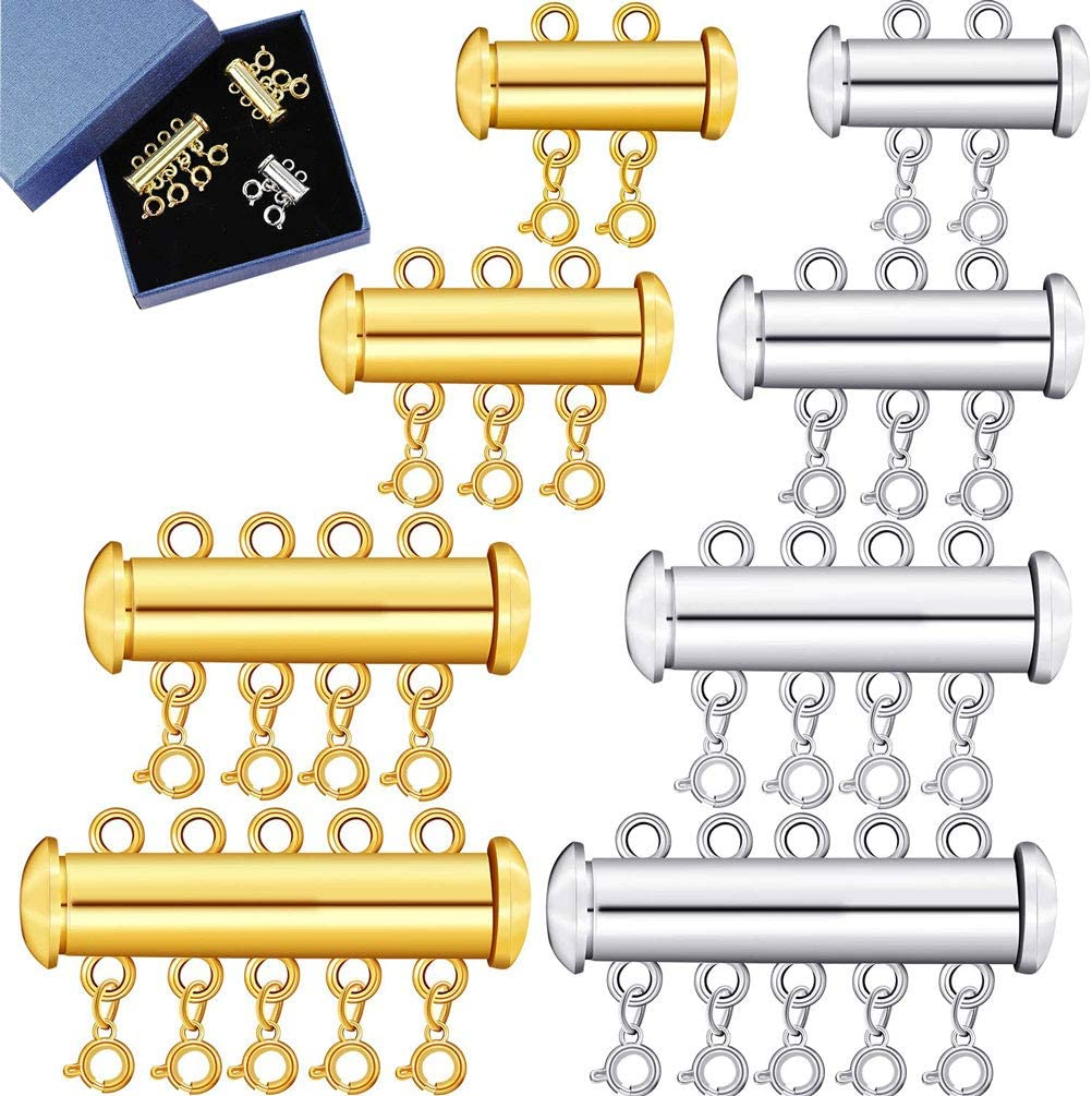 8 Pieces 4 Sizes Slide Clasp Lock for Necklace - Gold and Silver Plated Magnetic Tube Lock Connectors for Layered Bracelet Jewelry Multi Strands Crafts Necklace Spacer Clasp (8 PCS)