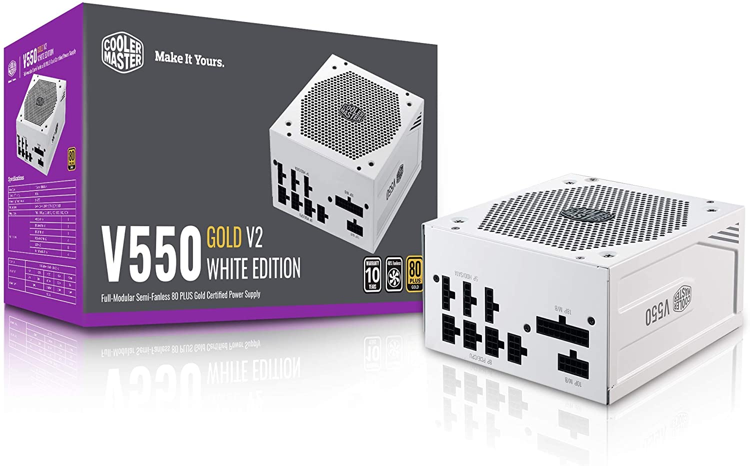 Cooler Master V550 Gold White Edition V2 Full Modular, 550W, 80+ Gold Efficiency, Semi-fanless Operation, 16AWG PCIe high-Efficiency Cables