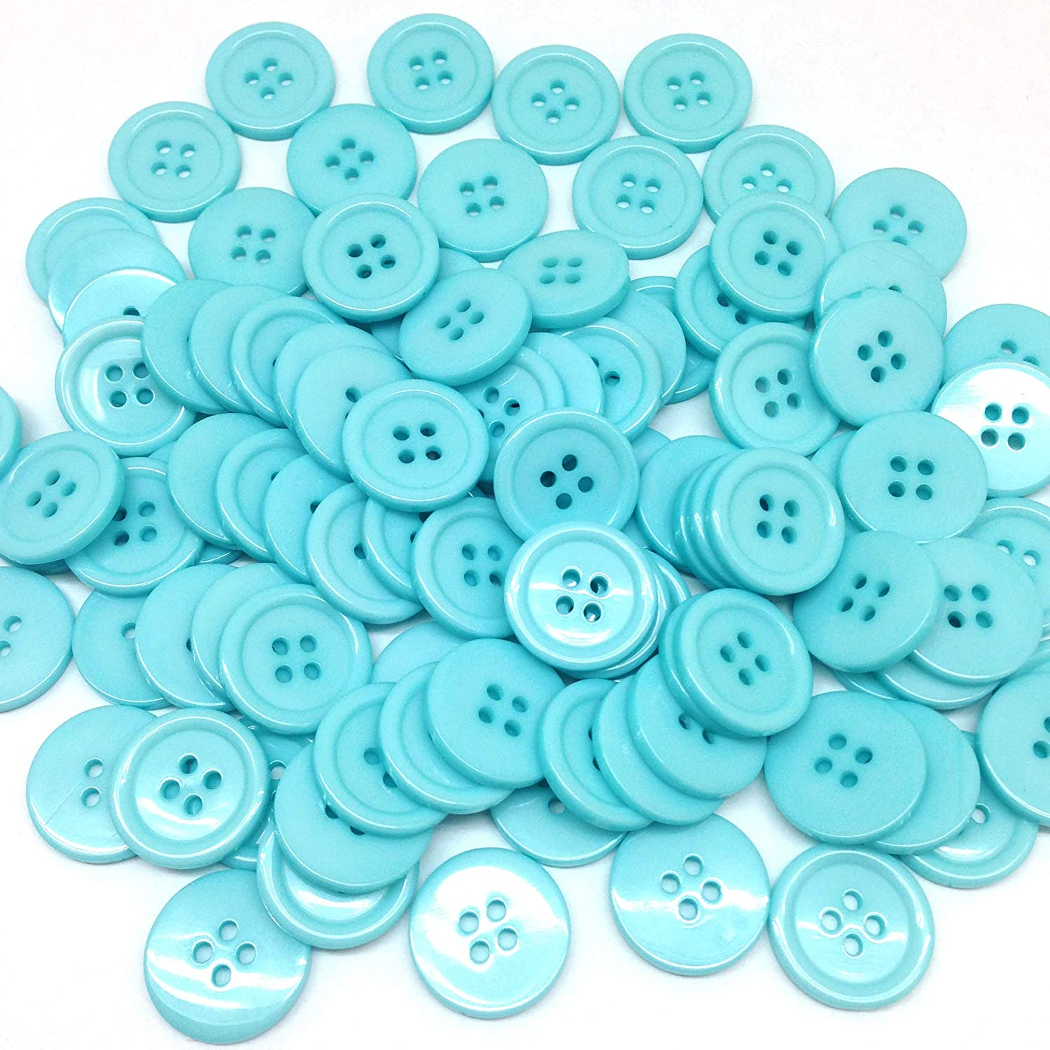 PEPPERLONELY 96PC Light Blue Flat Round 4 Holes Resin Buttons, 20x3mm(13/16x1/8 Inch)
