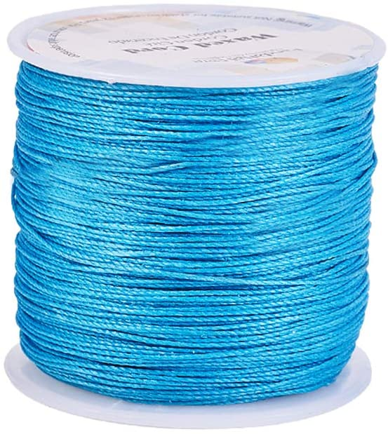 PH PandaHall 116 Yards 0.5mm Round Waxed Polyester Cords Thread Beading String Spool for Bracelet Necklace Jewelry Making Macrame Supplies, Dark Cyan