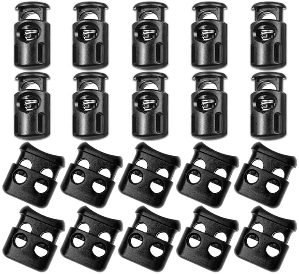 ACKLLR 40 Pcs Plastic Cord Locks, End Spring Toggle Stopper Slider for Drawstring Backpack Rucksack Craft Supplies, 20 Pcs Sing-Hole, 20 pcs Double-Hole (Black)