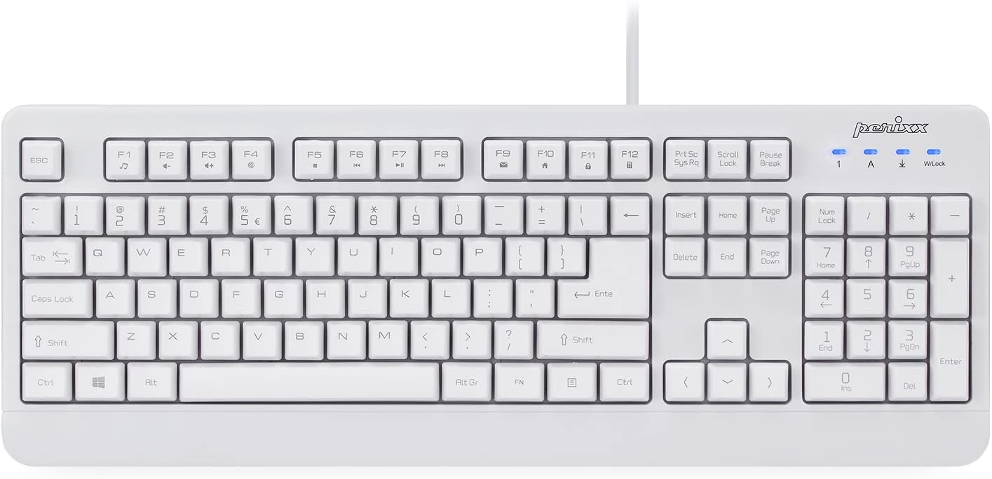 Perixx PERIBOARD-517 Wired Washable USB Keyboard, Certified with IP 65 Level, White, US English Layout