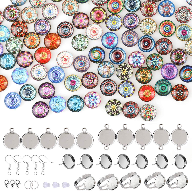 Hifot Mosaic Printed Glass Cabochons 12mm 100pcs with Stud Earring Pendant Trays Ring Bezel Blanks Bracelet DIY Craft, Round Dome Mosaic Tile Jewelry Making Starter Kit (Random Style)