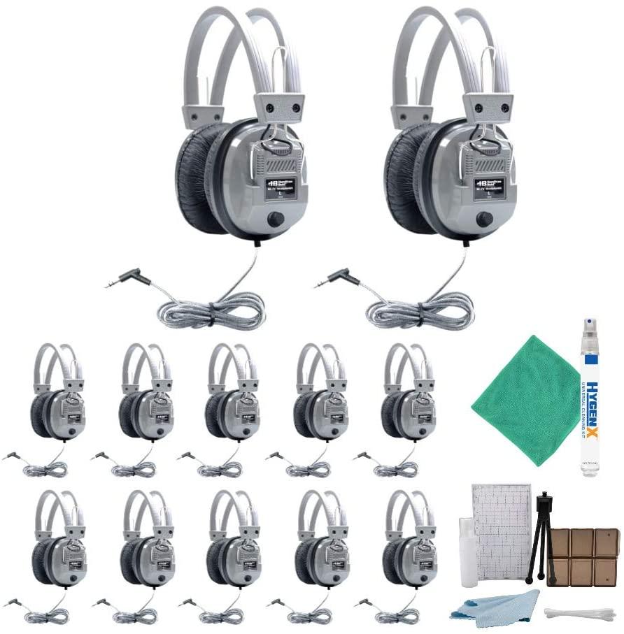 Hamilton Buhl SC-7V Schoolmate Deluxe Headphones (12-Pack) with Accessory Bundle (14 Items)