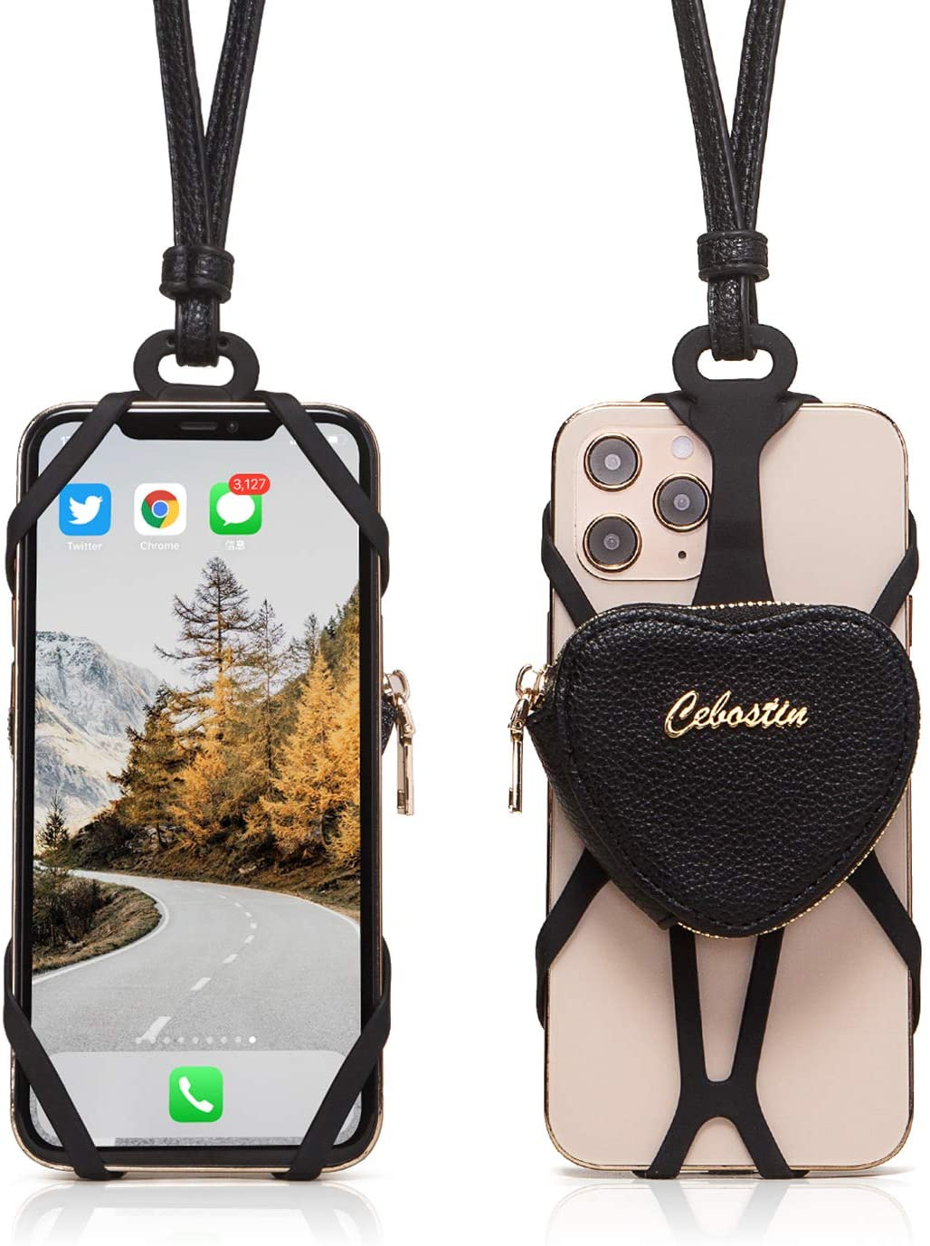 Cebostin Lanyard Silicone Phone Holder, Universal Cell Phone Lanyard Case, PU Leather Heart AirPods Case Coin Purse Wallet Neck Strap Smartphone Case (Black)