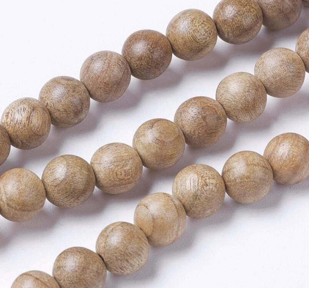 Airssory 5 Strands Vintage Natural Wood Beads Strands Round Wooden Loose Ball Beads Bulk for African Stretch Rosary Jewelry Necklace Bracelet Earrings Making - 7.5~8mm