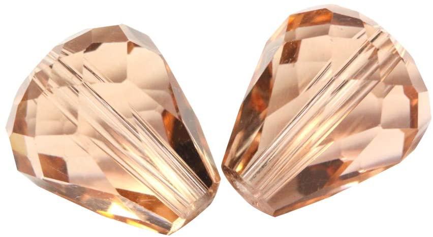 24pcs 12x10mm Adabele Austrian Teardrop Crystal Beads Light Peach Compatible with 5500 Swarovski Crystals Preciosa SST-1218