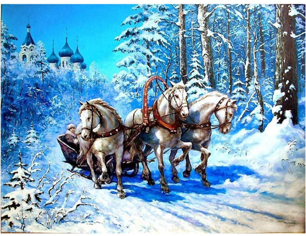 5D Diamond Painting Winter Snow Horse Carriage Full Drill by Number Kits, DIY Rhinestone Pasted Paint Set for Arts Craft Decoration(11.8x15.7inch)