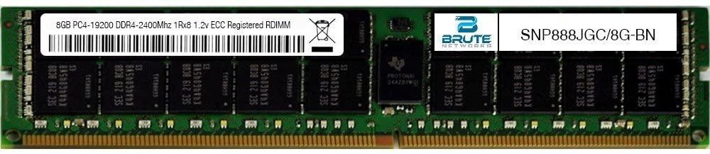 Brute Networks SNP888JGC/8G-BN - 8GB PC4-19200 DDR4-2400Mhz 1Rx8 1.2v ECC Registered RDIMM (Equivalent to OEM PN # SNP888JGC/8G)