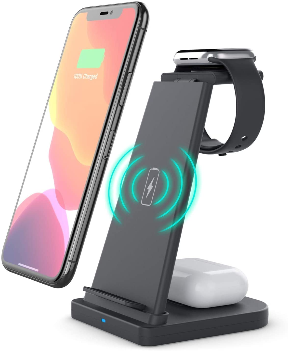 Afurdel Wireless Charging Station QI 3 in 1 Fast Wireless Charger Stand,for for iPhone 12/11/11 Pro Max/XR/XS Max/Xs/X/8/8P, iWatch 5/4/3/2 AirPods Pro/Airpods 2,Sangsung(with QC3.0 Adapter) (Black)
