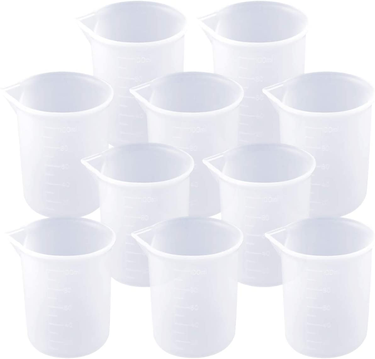 Heatoe 10 Pcs 100 ml Silicone Measuring Cups Epoxy Resin Cups Nonstick Silicone Mixing Cups Resin Glue Tools Cup for Casting Molds, Slime, Art, Waxing, Kitchen, Lab