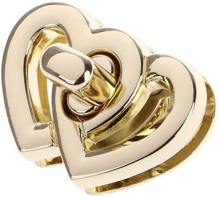XISAOK Metal Heart Shape Turn Lock Bag Twist Turn Button Closure Clasp Buckles Lock for Handbag Bag Purse Craft DIY