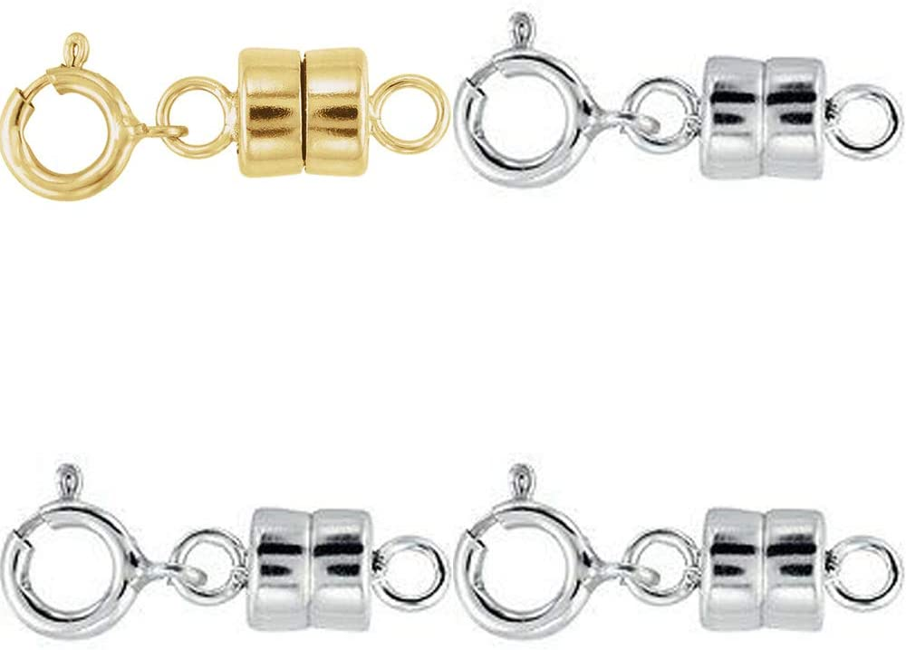 1 - New Solid 14k Yellow Gold and 3 - New Solid .925 Sterling Silver Barrel Magnetic Converter Necklace Clasps