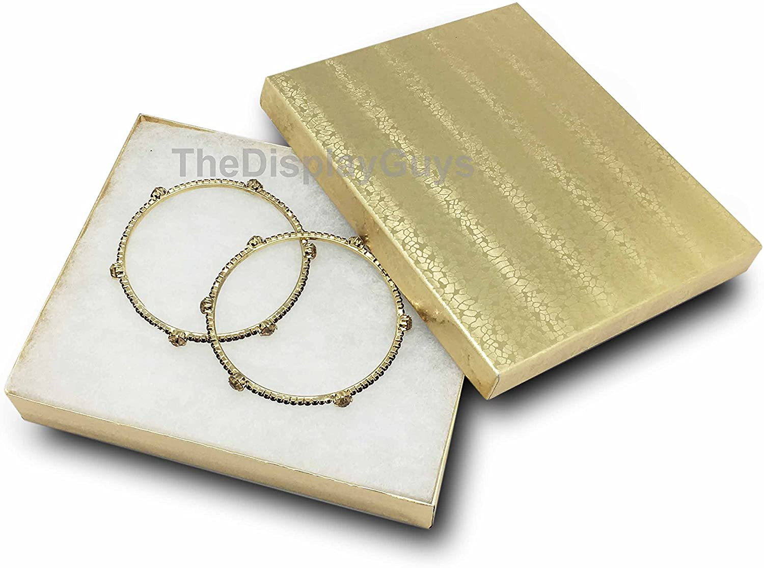 TheDisplayGuys 25-Pack #65 Cotton Filled Cardboard Paper Jewelry Box Gift Case - Gold Foil (6 3/16