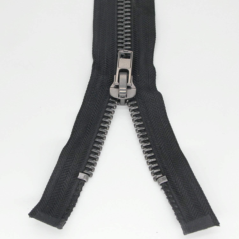 #10 29 Inch Separating Jacket Zipper Black Nickel Metal Zipper Heavy Duty Metal Zippers for Jackets Sewing Coats Crafts (29