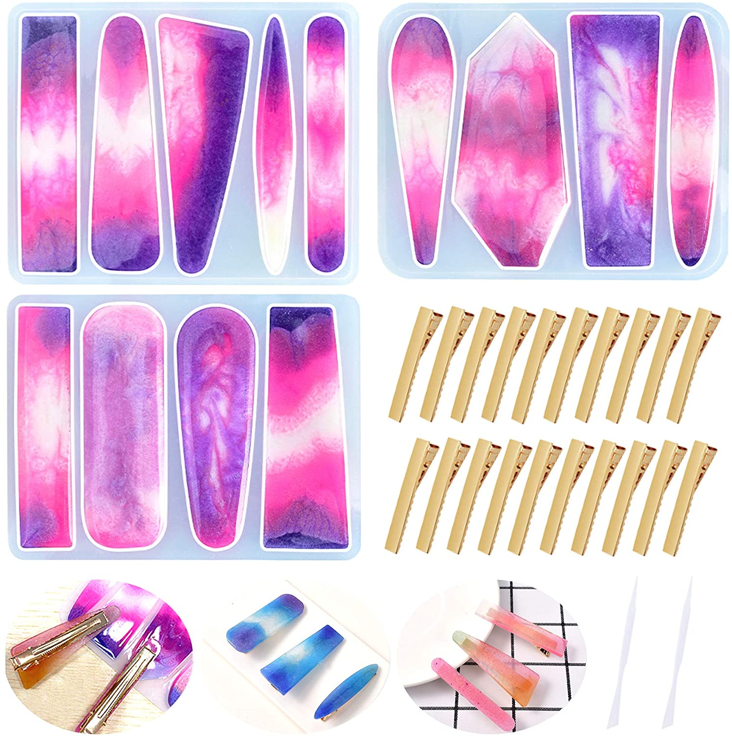 Hvinie Hair Clip Resin Mold 3 Pcs, Hairpin Jewelry Silicone Casting Molds with 20 Pcs Gold Metal Alligator Clips and 2 Pcs Stirring Rod for DIY Jewelry Keychain Craft Hand Making