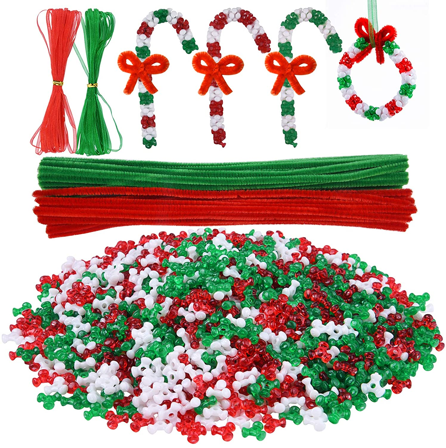 Livder Christmas Beads Wreath Cane Ornament Kit, 1500 Pieces Triangle Beads, 60 Pieces Chenille Stems, 64 Feet Ribbons for Xmas Craft House Tree Decorations