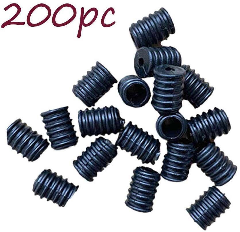 RDTIAN 200PCS Elastic Adjustment Buckle Plastic Silicone Buckle Round for Face Covering Elastic Accessories Ear Loop Strap Stretchy Cord Plug Snap Buckle Adult Children-2 Color (Black)