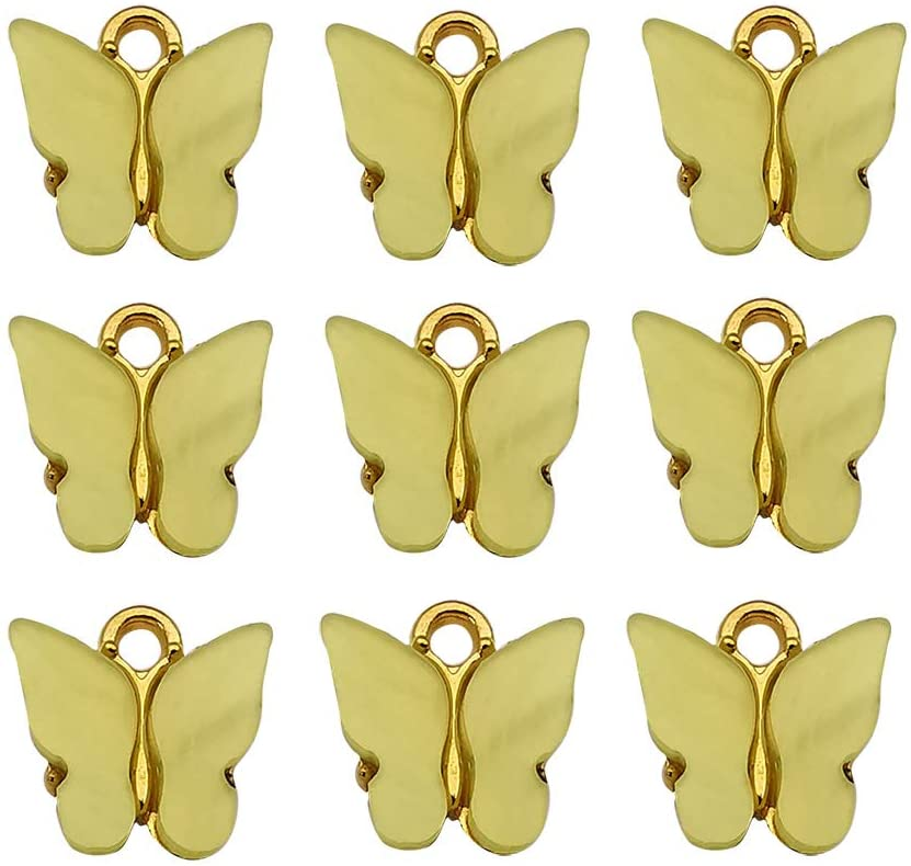 20 Pcs Assorted Gold New Tiny Acrylic Butterfly Charms for Jewelry Making Necklace Bracelet Earring (Yellow-12370)