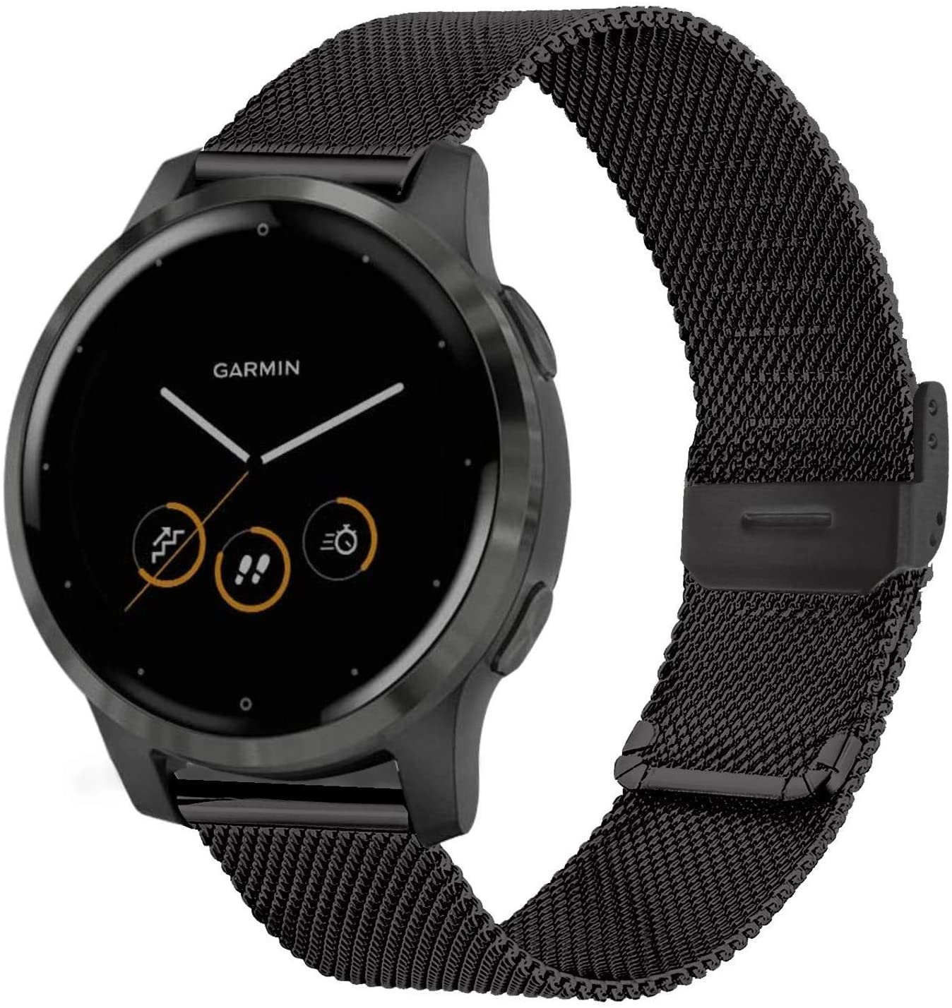 Stainless Steel Watch Bands for Garmin Vivoactive 4S 40mm/Vivomove 3S 39mm, Metal Mesh Quick Release Wristband Strap for Fossil Q Venture Gen 4 HR/Gen 3 (Black)