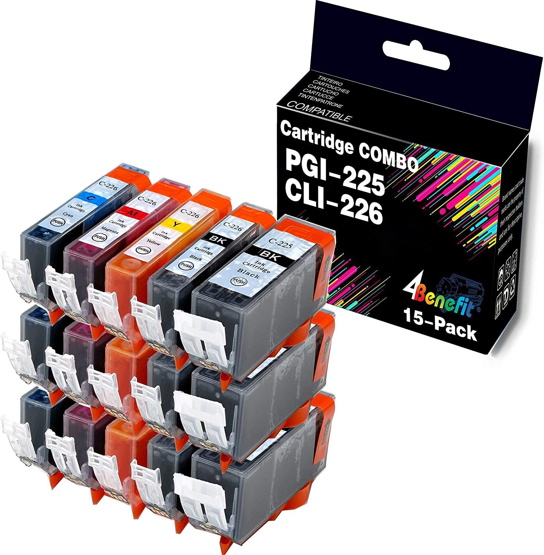 (3XLBK+3BK+3C+3M+3Y) 4Benefit Compatible Canon PGI-225 CLI-226 PGI225XL CLI226XL Ink Cartridge PGI225 CLI226 Used for PIXMA MG5220 MG6220 MG5320 MG6120 MX882 MG6220 Printer. 15-Pack