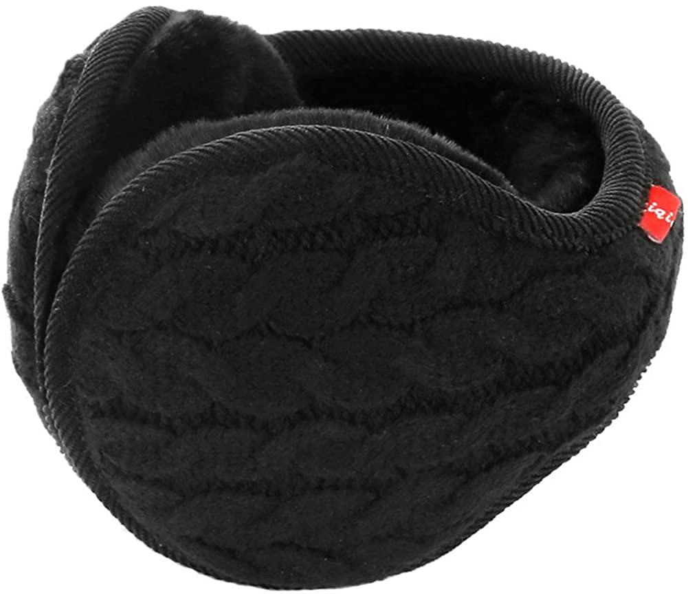 Unisex Warm Knit Cashmere Winter Pure Color Earmuffs with Fur Earwarmer Adjustable Wrap