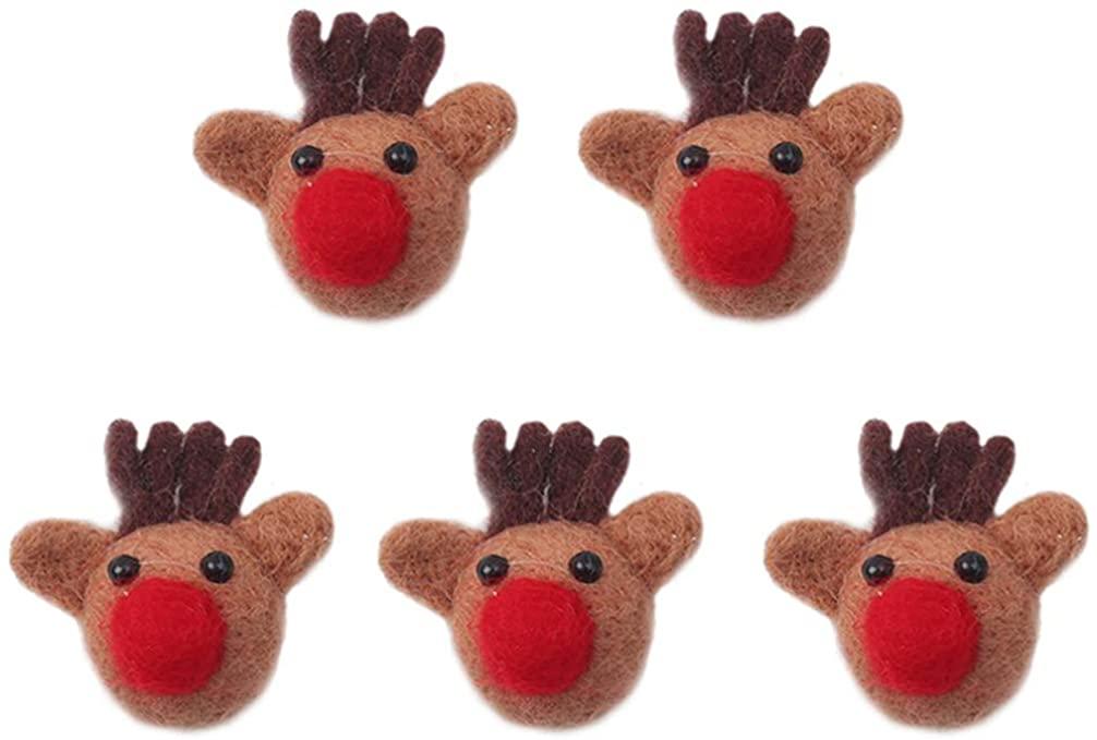 BESTOYARD 5pcs Cartoon Reindeer Brooch Felt Elk Brooches Pin Antler Breastpin Collar Art Badges Pin Christmas Party Favor Gift for Kid Child Teens(Brown)
