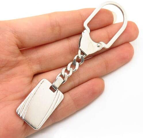925 Sterling Silver Vintage Italy ID Tag Key Chain Halloween & Christmas Gift