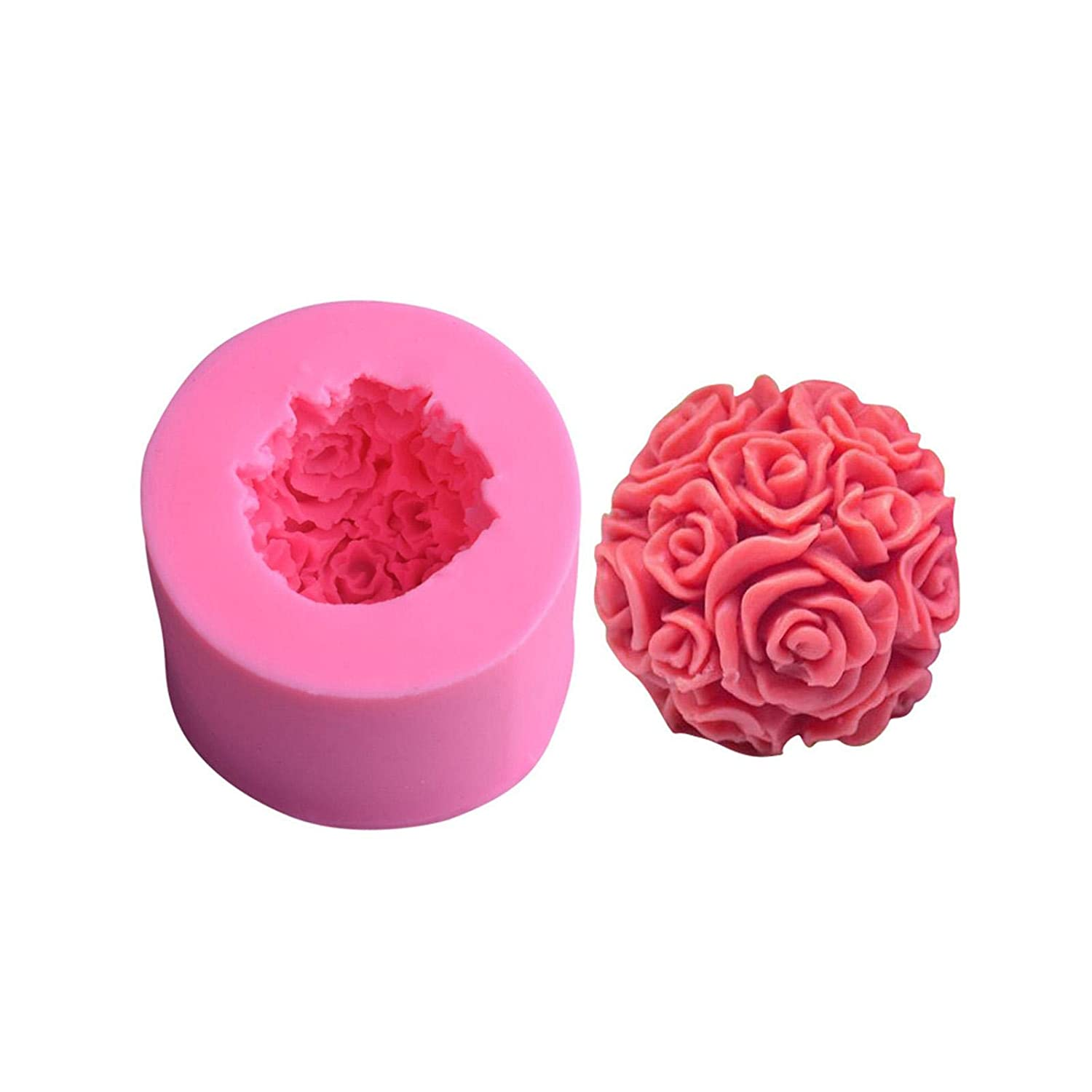 3D Candle Molds Rose Flower Owl Shape Art Craft Silicone Mold Kit Candle Wicks and Centering Device for DIY Homemade Beeswax Candle Making Supplies, Soaps, Lotion Bars etc