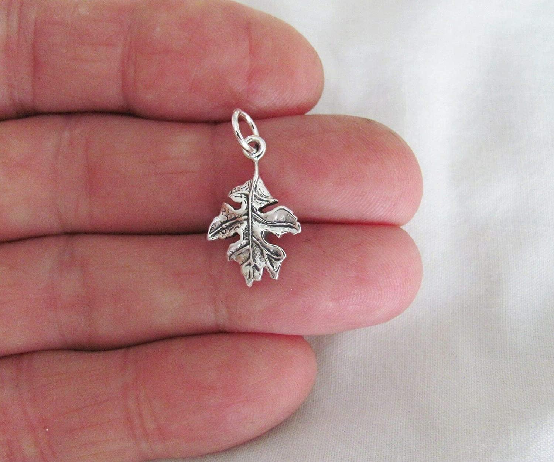 Charm Pendant - Jewelry Making DIY - Bracelet Sterling Silver Oak Leaf Charm.