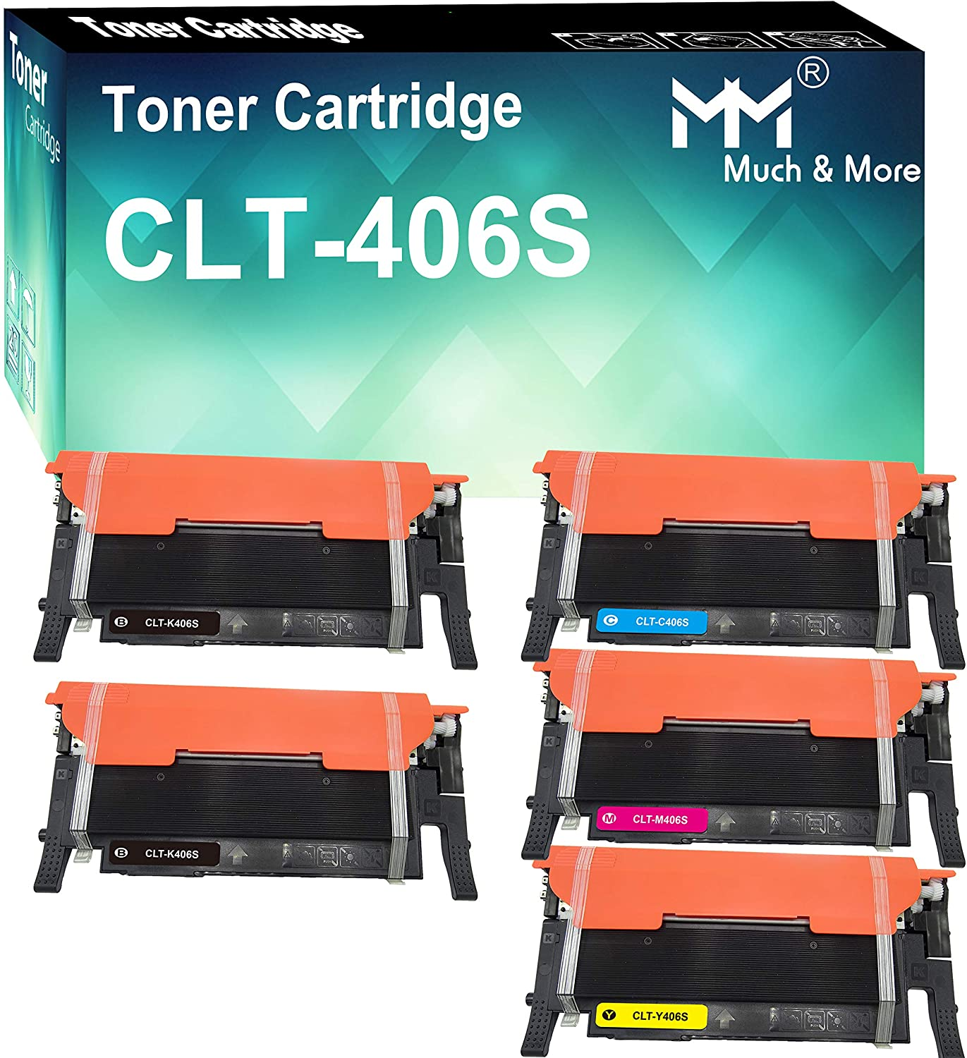 (5-Pack, 2X B+C+M+Y) Compatible CLT-406S Toner Cartridge 406S Used for Samsung CLX-3305FW 3306FW 3307FW SL-C460FW C462FW C463FW CLP-365W 367W Printer, Sold by MuchMore