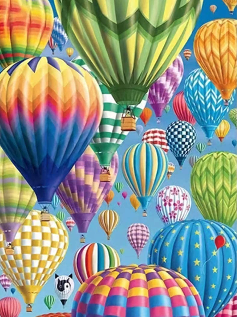 5D Diamond Painting Kit Full Drill Rhinestone DIY by Numbers for Adults Beginners Crystal Embroidery Cross Stitch Arts Craft Home Wall, Gift for Man Woman Kid The Hot Air Balloon 11.8x15.7inch
