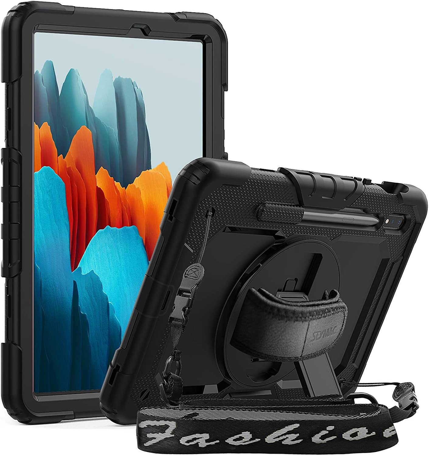 SEYMAC Case for Samsung Galaxy Tab S7 11 Inch 2020,SM-T870/T875 Case, Full Protection Shockproof Stand Case [360 Rotatable Hand Strap/Screen Protector/Pen Holder] Cover for Galaxy Tab S7 11 2020,Black
