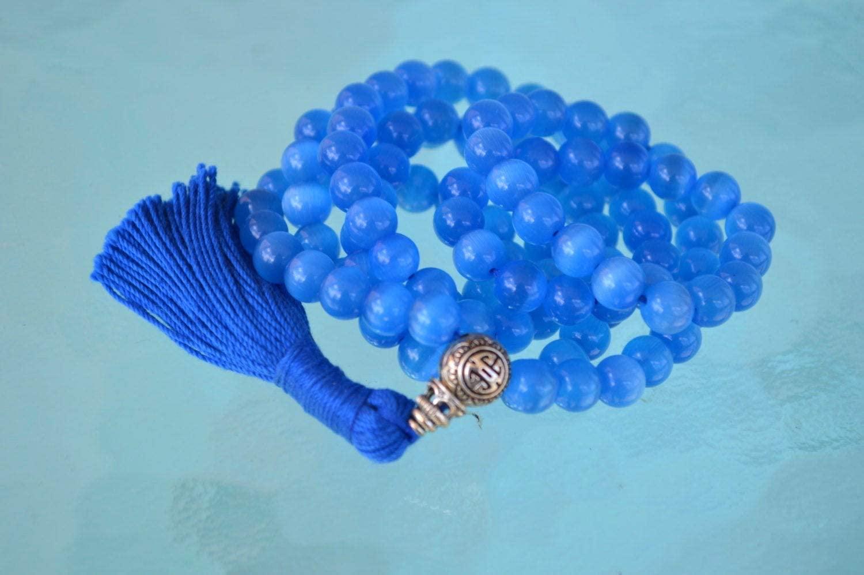 8 mm Cats Eye Mala Beads Necklace, Bracelet, (Ink Blue Cats Eye Mala Necklace)