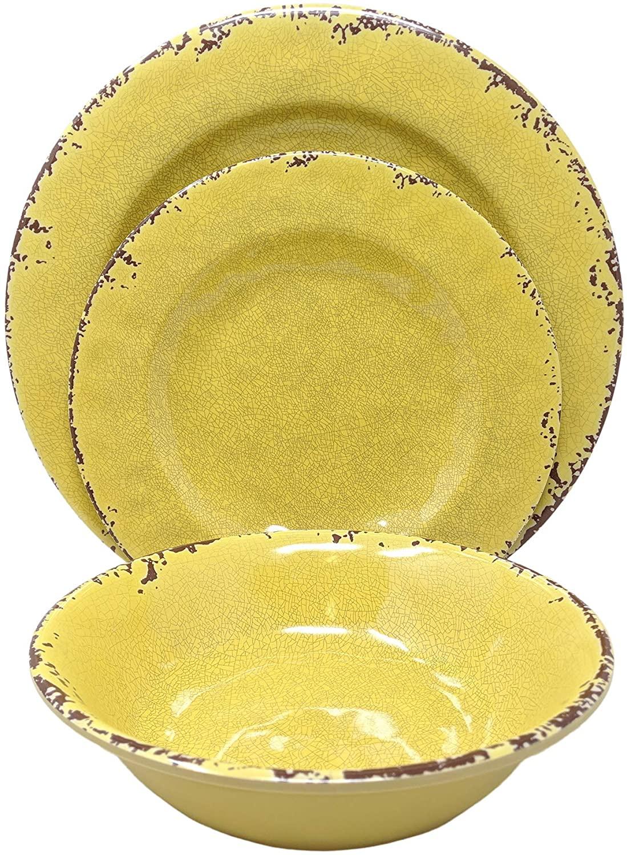 Giannas Home 12 Piece Rustic Farmhouse Melamine Dinnerware Set, Service for 4 (12 Piece Dinnerware Set, Yellow)