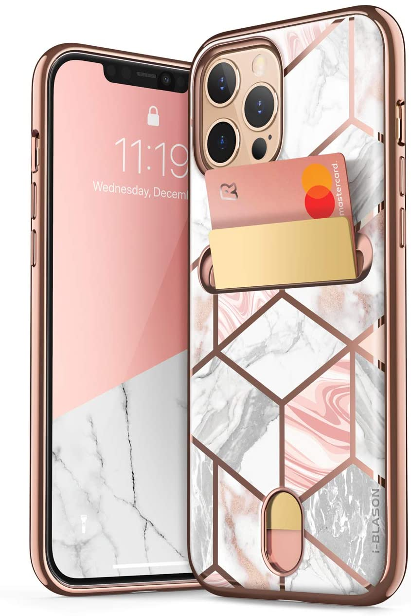 i-Blason Cosmo Wallet Case for iPhone 12 Pro Max 6.7 inch (2020 Release), Slim Designer Wallet Protective Case with Card Holder (Marble)