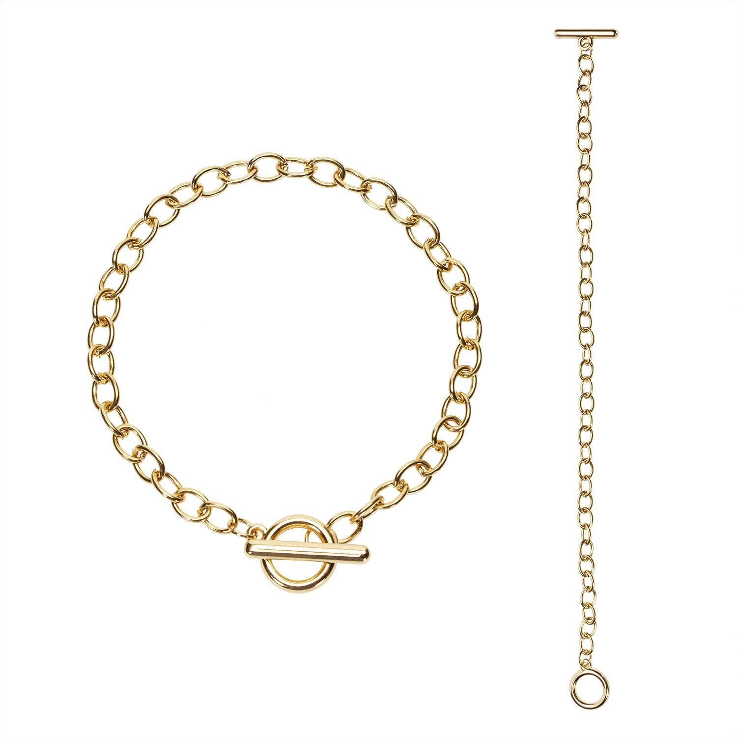 Penta Angel Toggle Clasp Chain Bracelets Metal Alloy Charms Link Chain with OT Jewelry Making Clasp for Women Girls Birthday Gift, 2PCS (Gold)