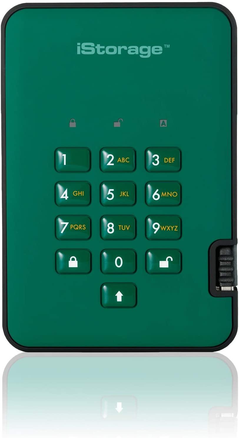 iStorage diskAshur2 256-bit 4TB USB 3.1 secure encrypted hard drive - Green IS-DA2-256-4000-GN