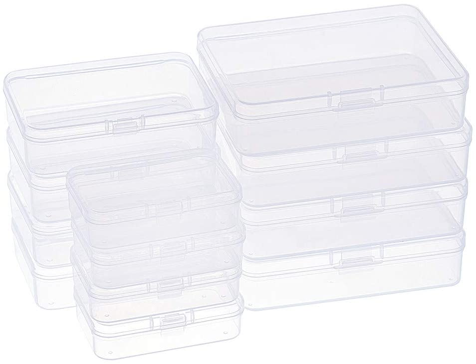 BENECREAT 12 Pack 3 Mixed Sizes Rectangular Clear Plastic Bead Storage Box with Flip-Up Lids for Small Items and Crafts Projects Organization