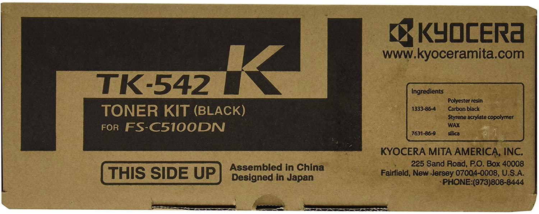 Kyocera 1T02HL0US0 Model TK-542K Black Toner Cartridge, Compatible FS-C5100DN Color Network Laser Printer, Up to 5000 Pages Yield