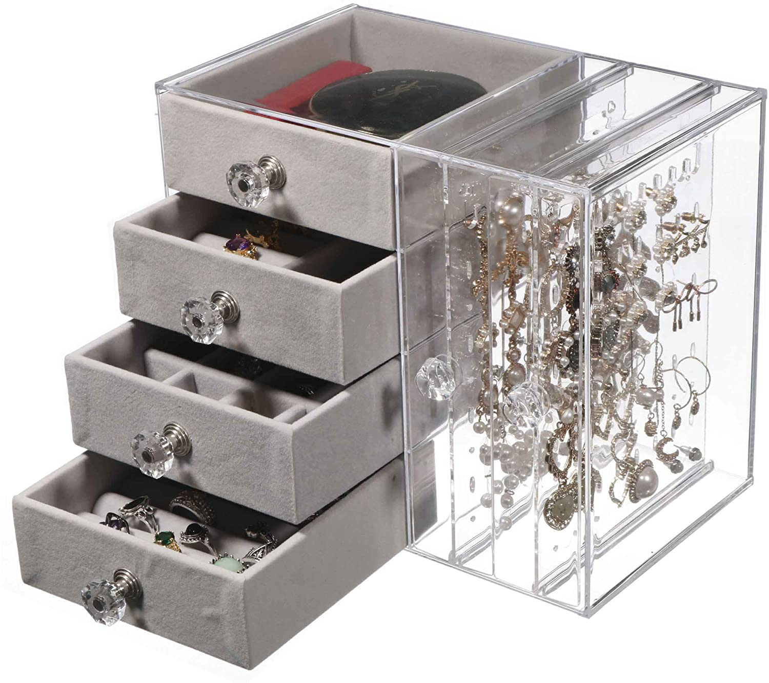 Cq acrylic Jewelry Box for Women with 4 Drawers, Hanging Velvet Jewelry Organizer for Earring Bangle Bracelet Necklace and Rings Storage Clear Acrylic Jewelry case,Gray