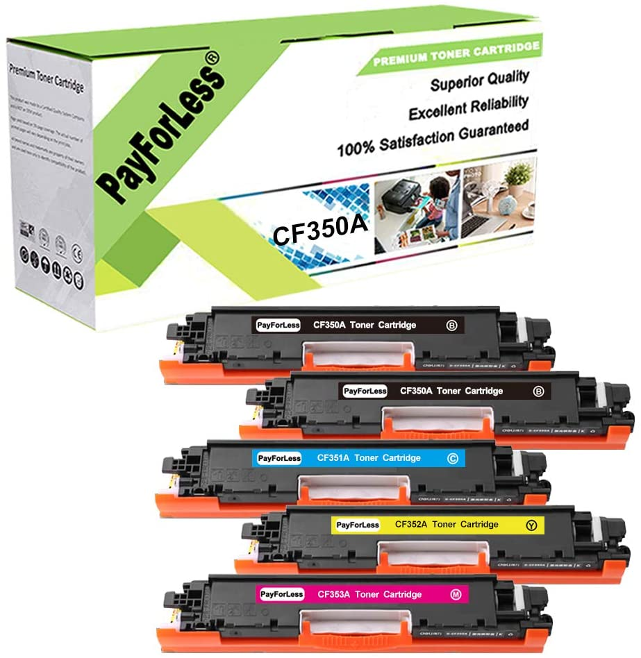 PayForLess Compatible for HP 130A CF350A CF351A CF352A CF353A Toner Cartridge for HP Color Laserjet Pro MFP M176 M177fw M175A M175NW