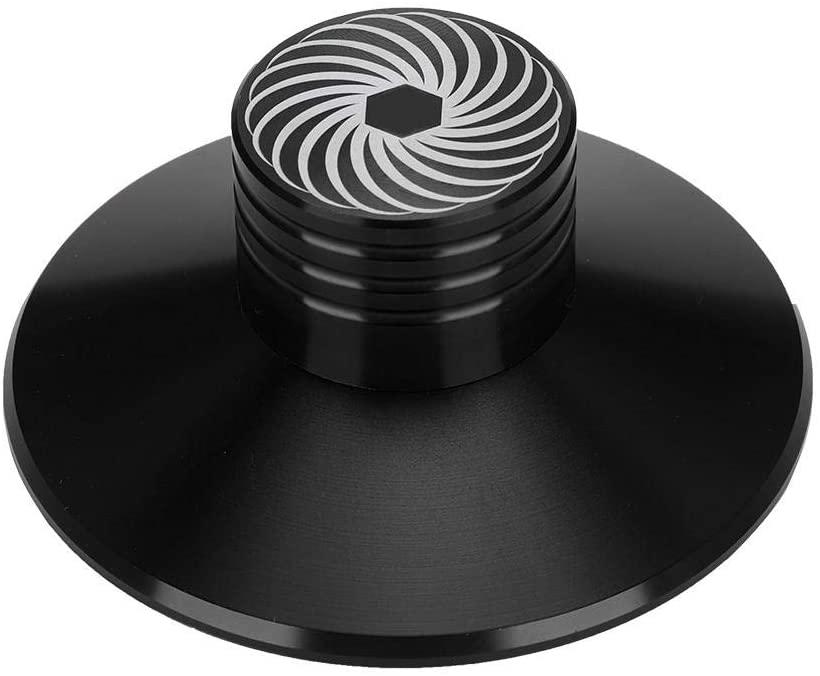 Socobeta Vinyl Record Clamp Portable Audio Disc Turntable Stabilizer Clamp Aluminum Weight Clamp(Black)