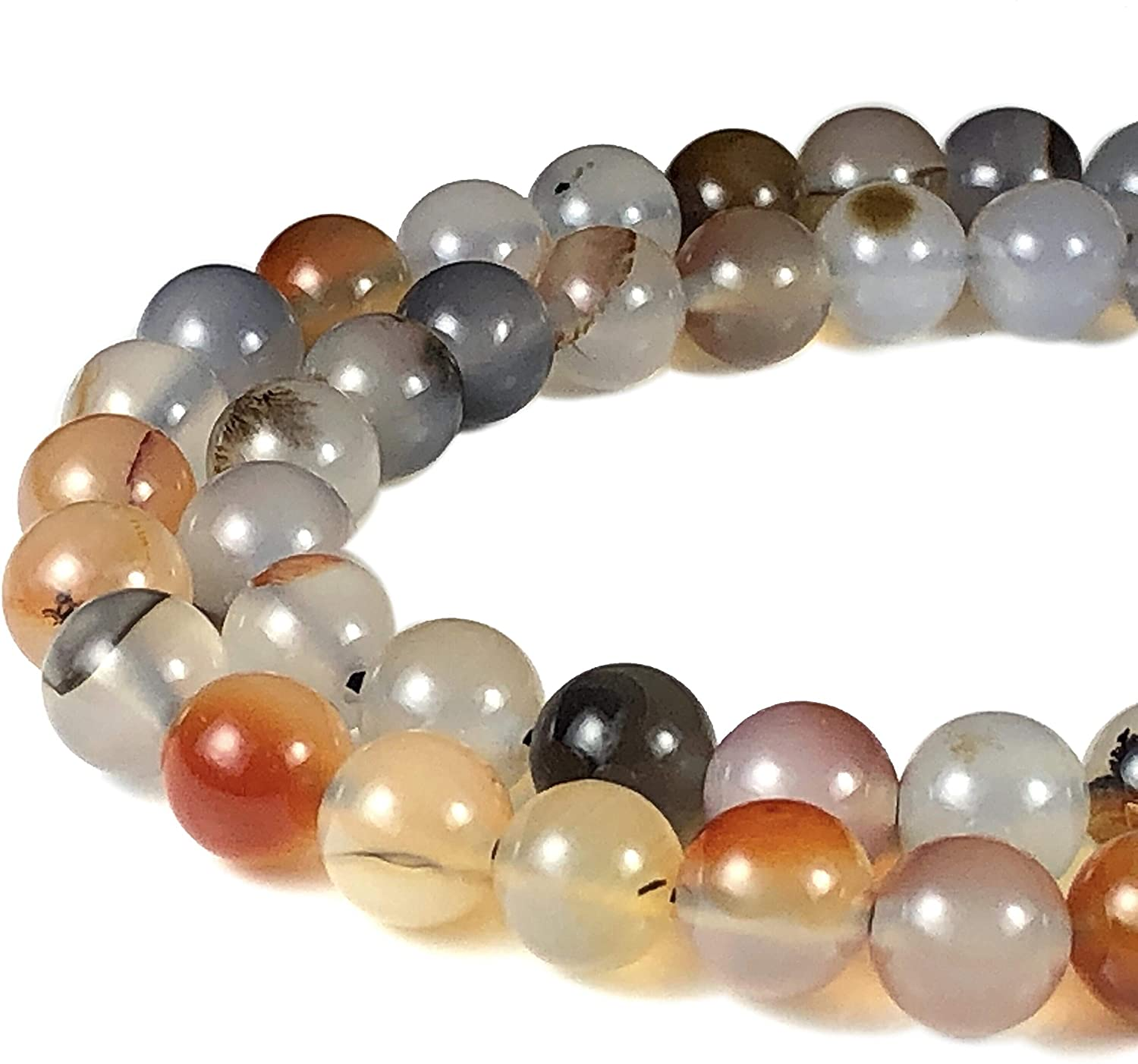 [ABCgems] Dendritic Agate 8mm Smooth Round Beads for Beading & Jewelry Making