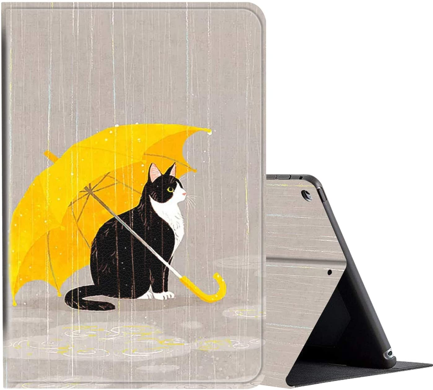 iPad 10.2 Case (2020/2019) 8th/7th Generation ipad Case,Amook Adjustable Non-Slip Folio Stand with Auto Wake/Sleep Smart Cover for New Apple iPad 8/7 Gen 10.2 inch-Cat Under Umbrella