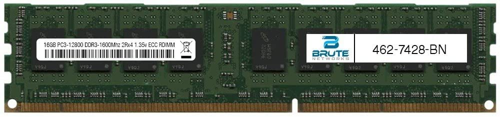 Brute Networks 462-7428-BN - 16GB PC3-12800 DDR3-1600Mhz 2Rx4 1.35v ECC Registered RDIMM (Equivalent to OEM PN # 462-7428)