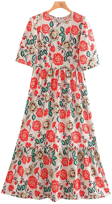Women 2020 Chic Fashion Floral Print Ruffled Midi Dress Vintage Short Sleeve Back Zipper S