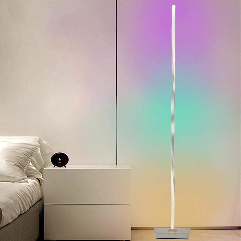 Corner Floor Lamps, RGB Color Changing Standing Lamp Soft Lighting Home Minimalism Warm Atmosphere for Living Room Bedroom Childrens Room 18W 140Cm
